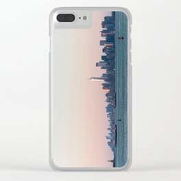 New York City Summer Sunset Skyline Clear iPhone Case