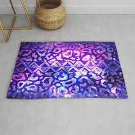 TRIBAL LEOPARD GALAXY Animal Print Aztec Native Pattern Geometric Purple Blue Ombre Space Galactic Rug
