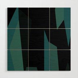 teal and black abstract Wood Wall Art