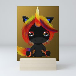Flame Unicorn Mini Art Print