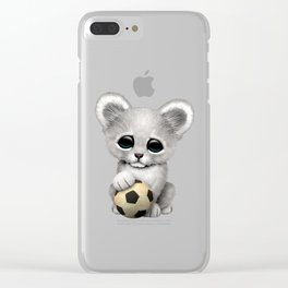 White Lion Cub With Football Soccer Ball Clear iPhone Case