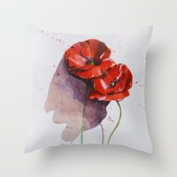 poppies Throw Pillows featuring Poppies by Alina Rubanenko
