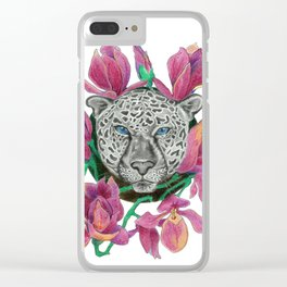 Snow panther hidden in magnolias Clear iPhone Case