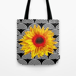 Red Sunflower Floral  Art Deco Pattern Art Tote Bag