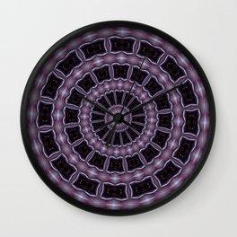Eggplant and Pale Aubergine Kaleidoscope Pattern Wall Clock