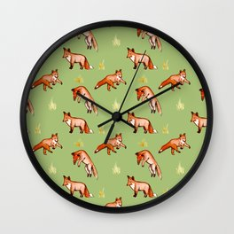 Foxy Pattern Wall Clock