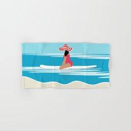 Solo surfing woman Hand & Bath Towel