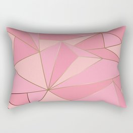 Modern abstract pink polygon artistic geometric with gold line background illustration Rectangular Pillow