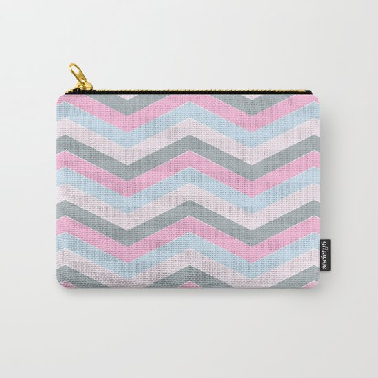 Different pastel colors pink blue grey-chevron-herringbone pattern Carry-All Pouch