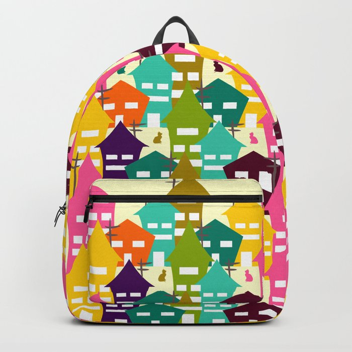 Colorful houses and cats Backpack