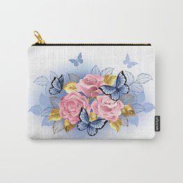 Three Pink Roses with Butterflies Carry-All Pouch