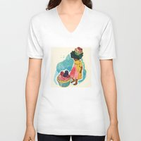 sprinkles V-neck T-shirts featuring Sprinkles on her Cupcake by Carina Crenshaw