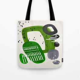 Fun Mid Century Modern Abstract Minimalist Olive Green Rings Grey Black Accent Tote Bag