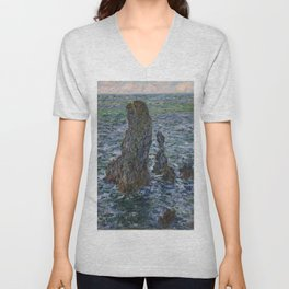 "Claude Monet ""Pyramides Port Coton"" Unisex V-Neck"