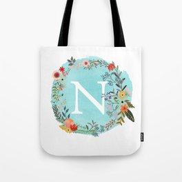 Personalized Monogram Initial Letter N Blue Watercolor Flower Wreath Artwork Tote Bag