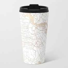 Amsterdam White on Gold Street Map II Travel Mug