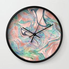 Pastel Rose Gold Mermaid Marble Wall Clock