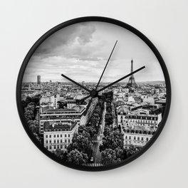 Black & White Paris Skyline Wall Clock