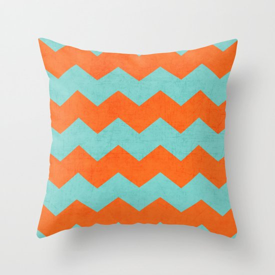 Teal And Orange Decorative Pillows : chevron - teal and orange Throw Pillow by Her Art Society6