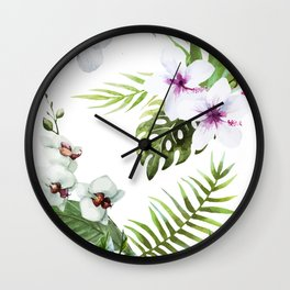 Painting tropical flowers Wall Clock