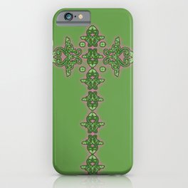 'Green Faith' - Cross of lace in green iPhone Case