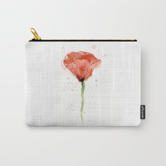 Poppy Watercolor Abstract Red Flower Carry-All Pouch