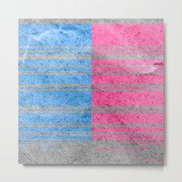 Blue and Pink Stripes Metal Print