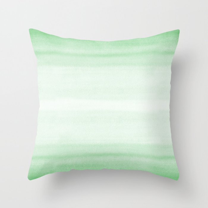 Pastel Mint Green Watercolor Brushstrokes Horizontal Lines Pairs To 2020 Color of the Year Neo Mint Throw Pillow