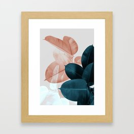 Blush & Blue Leaves Gerahmter Kunstdruck