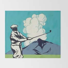 Japanese Golfer Vintage Matchbox Label Poster Throw Blanket