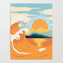 Orange wave Poster