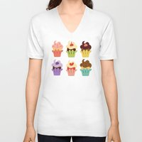 cupcakes V-neck T-shirts featuring Cupcakes by Carolina Pineda