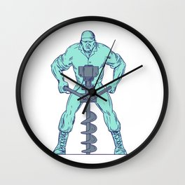 Construction Worker Earth Auger Boring Hole Drawing Wall Clock