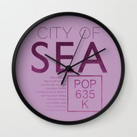 seahawks Wall Clocks featuring The City of Seattle by AJ Creative