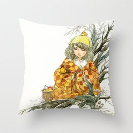 Winter Story Time in the Forest Throw Pillow