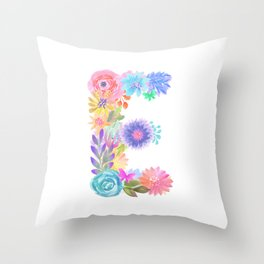 "Bloomin Alphaet ""E"" Throw Pillow"