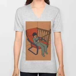 At the top of the stairs Unisex V-Neck