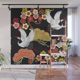 Japan crane bird pattern dark background vintage illustration Wall Mural