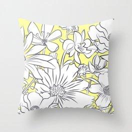 Flower Meadow Yellow Throw Pillow