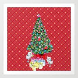 Christmas tree with cats / red tartan, plaid, kittens, holidays, christmas gift, Art Print