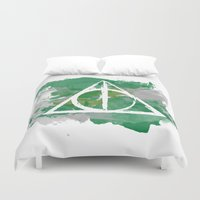 slytherin Duvet Covers featuring The Deathly Hallows (Slytherin) by FictionTea