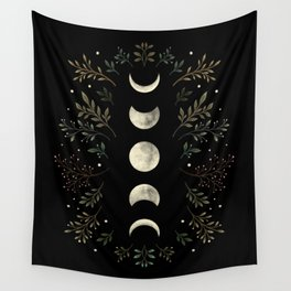Moonlight Garden - Olive Green Wall Tapestry