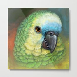 Blue fronted amazon parrot realistic painting Metal Print
