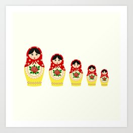 Red russian matryoshka nesting dolls Art Print