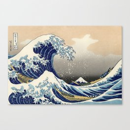 Boats Fighting With Tsunami Canvas Print