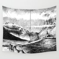 iceland Wall Tapestries featuring Iceland by Justine Lecouffe