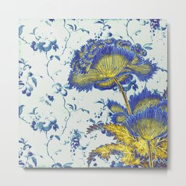 floral chinoiserie in blue and gold Metal Print