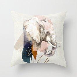 Elephant Portrait Soft Watercolor Painting Throw Pillow