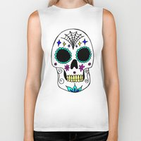 sugar skull Biker Tanks featuring Sugar Skull by Julie Erin Designs