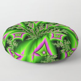 Green And Pink Shapes Fractal Floor Pillow